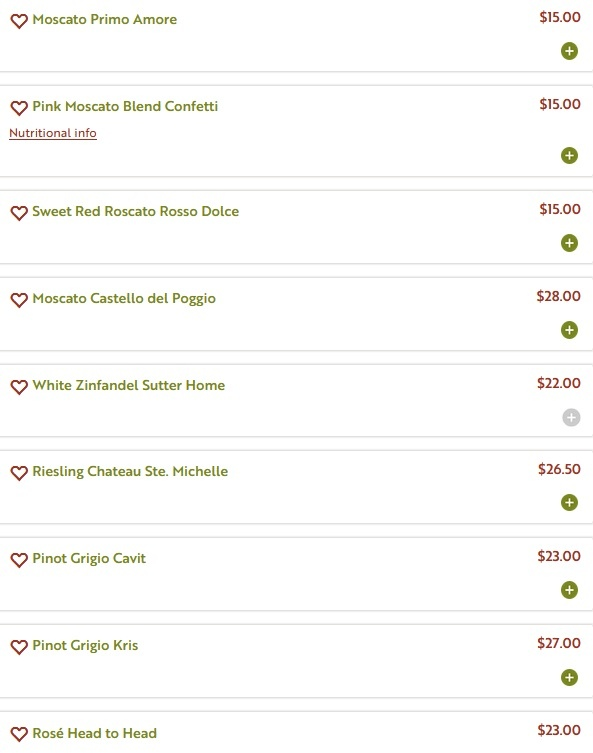 Olive Garden menu - Wine Menu