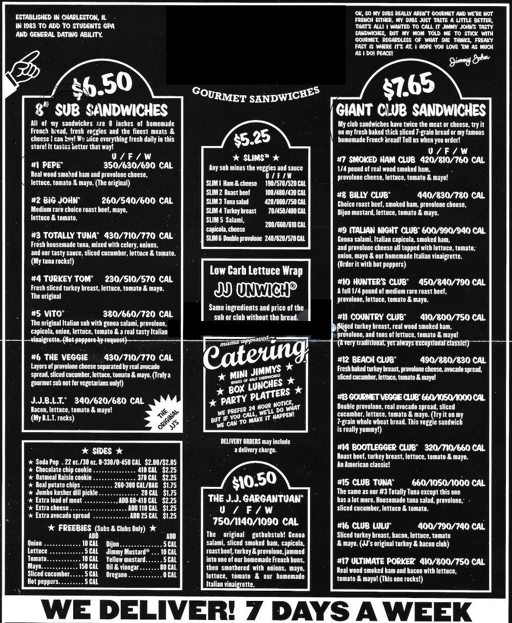 jimmy johns menu
